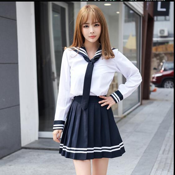 School Uniform Set Student Uniform Tie Sailor Suit Set Table Costume Japanese School Uniform Girl Autumn Long Sleev