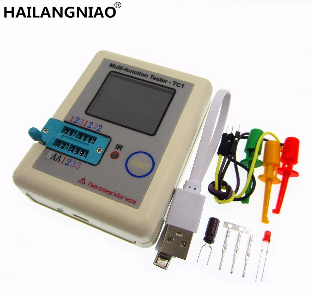 HAILANGNIAO 1set latest 12864 LCD Pocketable Transistor tester LCR - TC1 full color graphics display ESR meter tester in case diy m12864 graphics version transistor tester kit lcr esr pwm with case