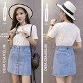 Autumn Winter New Women's Denim Skirt A-line Empire Women Jean Skirt Light Blue Mini Skirts Female One-step Skirt JD802