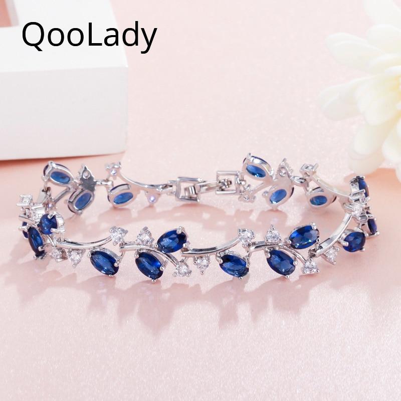 QooLady Sparkling 6 Colors Dark Blue Cubic Zircon Exquisite Irregular Leaf Bracelets Bangles for Women Jewelry Accessories S003