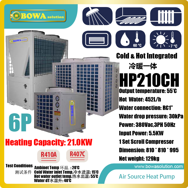 6HP air source cold and hot water integrated heat pump is working together with AHU & FCU as small central air condtioner system r410a hvac r solenoid valve with 4 5mpa working pressure is also suitable for r32 air condtioner or water chillers