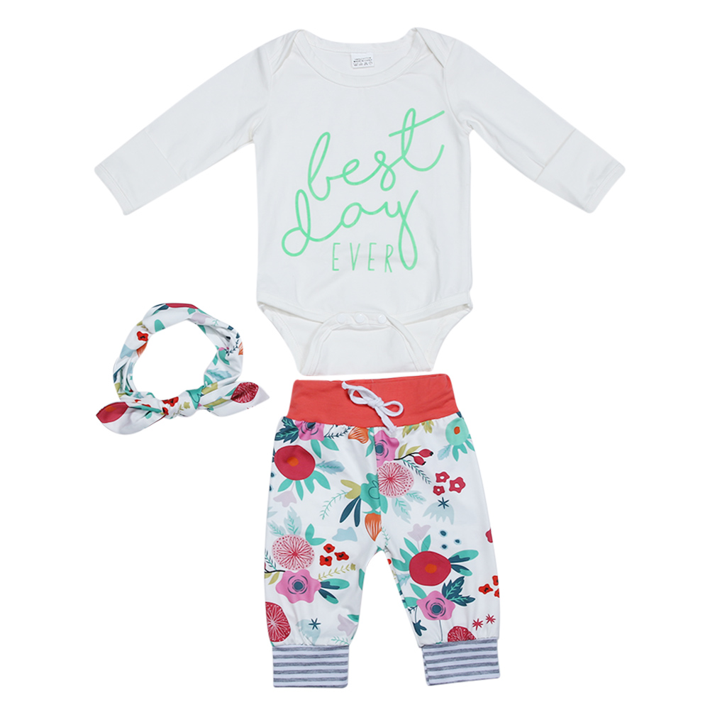 Fashion 3pcs Newborn Baby Clothing Long Sleeve Printing Romper+Pants+Headband Cotton Baby Girl Clothes Set