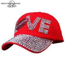 BINGYUANHAOXUAN Fashion Women Rhinestone CAPS Unisex Sun Hat Red Color Point Drilling Cowboy Baseball Cap Brand
