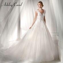 アシュリーキャロルヴィンテージのウェディングドレス2020セクシーなv neckineチュールアップリケノースリーブ花嫁のドレスブライダルガウンプラスサイズ