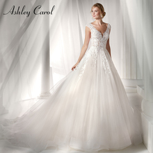 Ashley Carol Vintage robe de mariée 2020 Sexy v cou Tulle Appliques sans manches dos nu robe de mariée robes de mariée grande taille