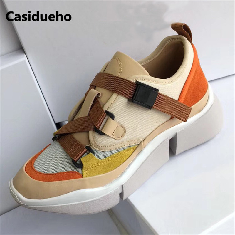 Patchwork Sneakers Buckles Strap Shoes Woman Platform Tenis Feminino Runway Brand Flats New Zapatos Mujer Luxury Walk Shoes 2018