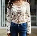 Caiga los nuevos 2016 mujeres del resorte Semi escarpado de la manga del bordado camiseta Top Plus Size Sexy encaje Floral Crochet blusa camisa