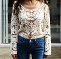 Drop shipping New 2016 Spring  Women's Semi Sheer Sleeve Embroidery Top shirt Plus Size Sexy Lace Floral Crochet Blouse Shirt