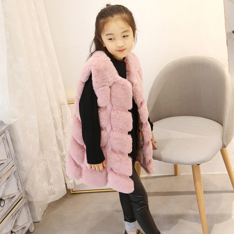 все цены на Children Warm Vest New Winter Faux Fox Fur Girl Clothes Girl faux fur Coat imitation Fur Vest Children Girls Plush Waistcoat