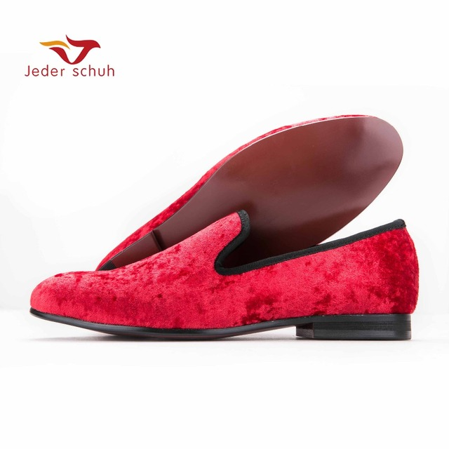 Jeder Schuh new Five color men new velvet flats shoes Banquet and Prom men dress shoes Fashion smoking slippers male loafers