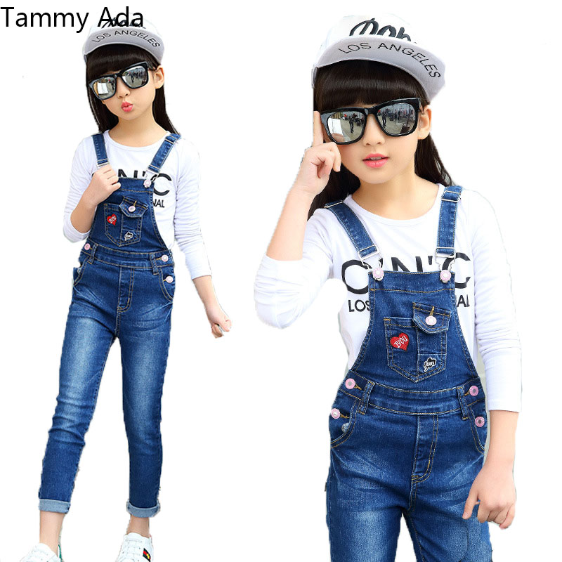 8 11 Spring Fashion Girls Denim Overalls Autumn Jeans For Girls Clothing Pants Casual Children Wear Rompers Students Jumpsuits