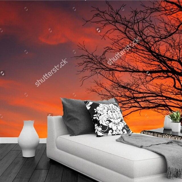 Custom moderne behang, Droge takken onder zonsondergang, 3D photo ...
