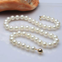 Free shipping@@@@@ A>ss144 2015 genuine AAA++ 9 10mm white cultured pearl necklace 17/585 gold 6.07