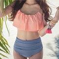 Verão novo Sexy Babados Biquínis Conjunto de Duas Peças Das Mulheres Listrado de Cintura Alta Swimwear Maiôs Beachwear Fato de banho