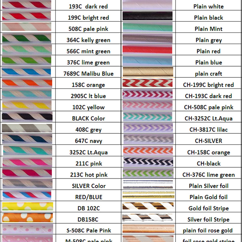 Free DHL 11000 pcs Paper Straws Wholesale Colored Stripe Chevron Solid Plain Soda Restaurant Coffee Bar