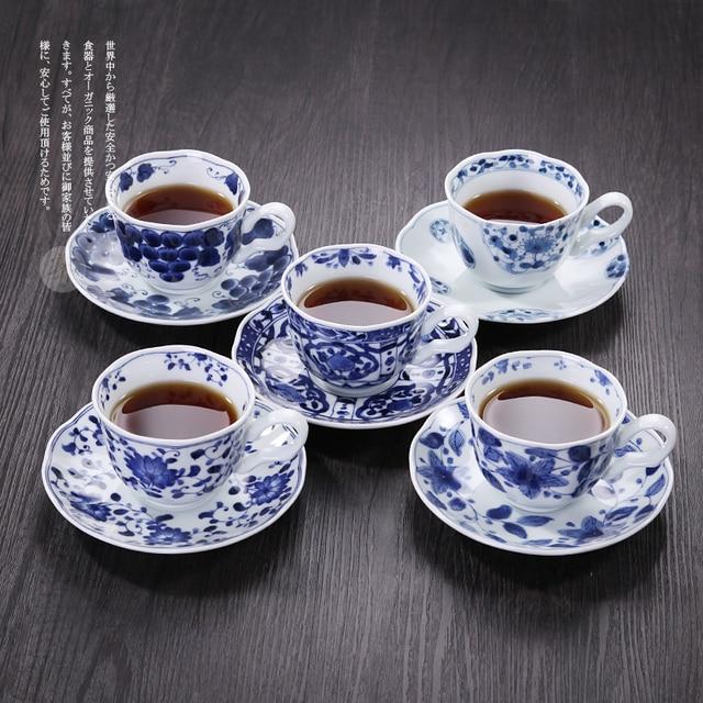 Творческий Кружка Японский Ручной росписью Фарфора Чашки и Кружки Синий и Белый Чашка Кофе с Блюдом