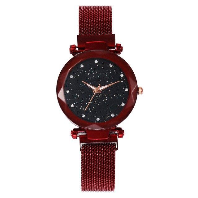 Starry Sky Ladies Watch Luxury Female Magnetic Loop Stainless Steel Quartz Wrist