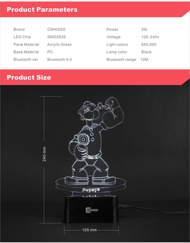 CNHIDEE Lampada Decorativa USB Desk 3D Night Lamp Bluetooth Music Led Table Lamp as Creative Gifts for Cartoon Popeye Fans (11)