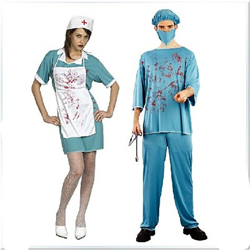 388e1e54c69 Halloween Dress for Women Day of The Dead Costume Scary Doctor Nurse Uniform  Bloody Surgery Clothes