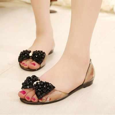c923c3130a46 ... Women Flats Shoes Bowtie Beach Rhinestone Jelly Peep Toe Woman Summer Flip  Flops Slippers Slip on