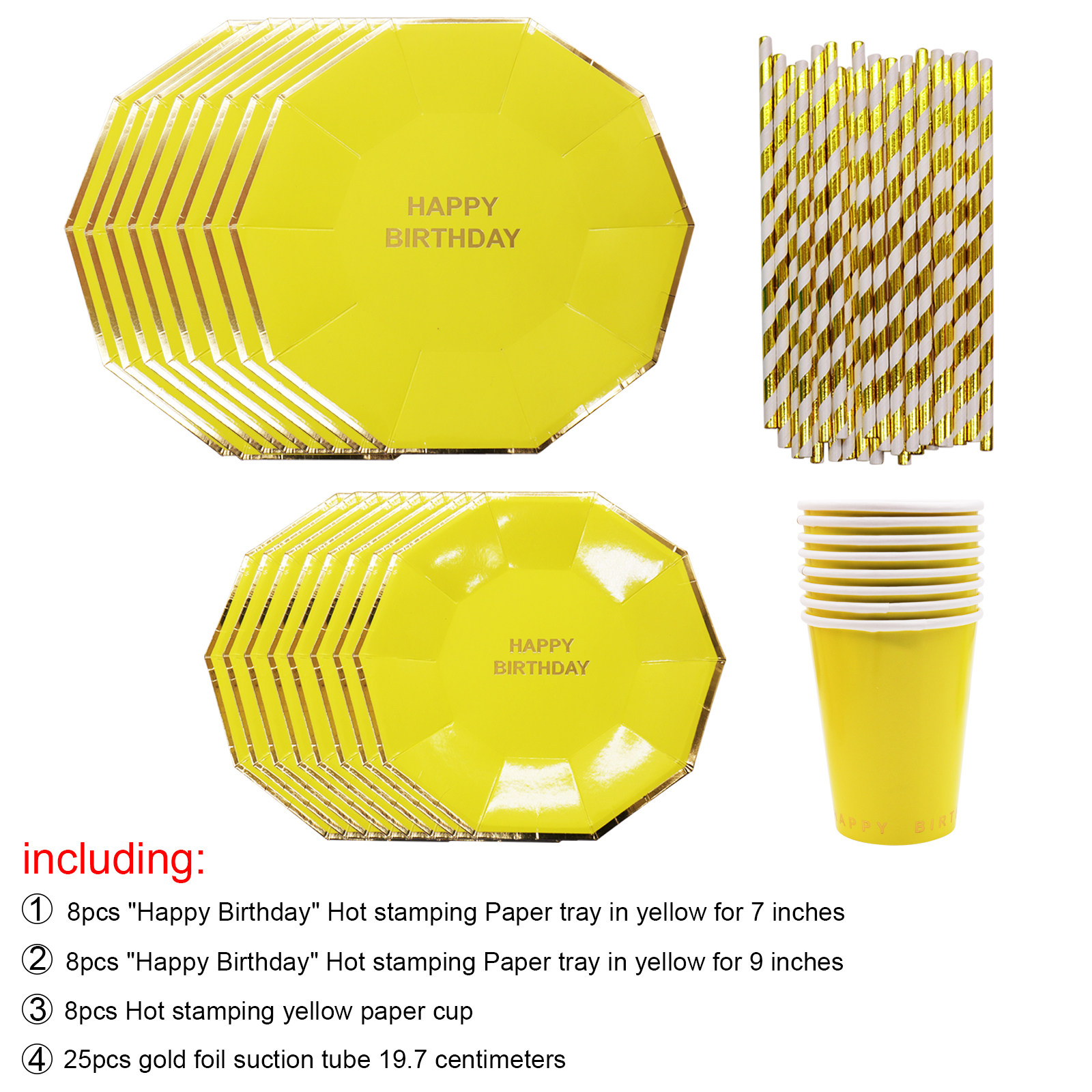 1set Birthday Crockery Disposable Plates 8 Pcs Small Plate+8 Pcs Bigger Plate+8 Pieces Paper Cup+25 Straw Party Supplies-in Disposable Party Tableware from ...  sc 1 st  AliExpress.com & 1set Birthday Crockery Disposable Plates 8 Pcs Small Plate+8 Pcs ...