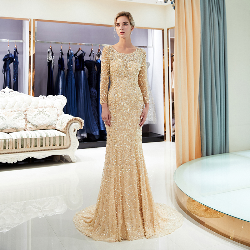 Luxe pleine longueur sirène robes de soirée col rond manches longues strass dos nu femmes robes de soirée formelles robes de soirée