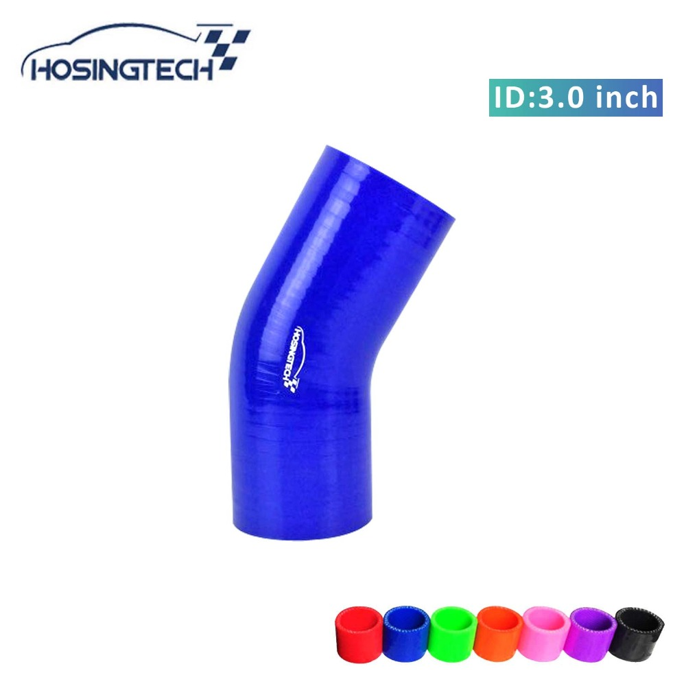 Hosingtech 76mm 3 Biru Fleksibel 30 Derajat Silikon Siku Turbo Vicria High Quality Korean Bag Style Pompom Tua Selang