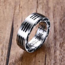 Mens Rings Stainless Steel Chinese Style Taoist Tai Chi Bagua Lucky Prayer Ring Men Fashion Jewelry Accessories Anel Aneis Bague