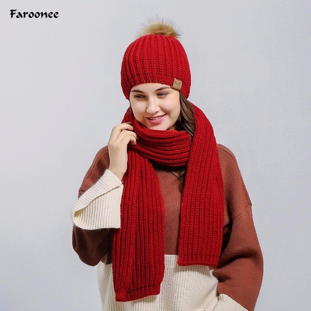 9c588a4e4 2018 New Woman Winter Hat and Scarfs Sets Knitted Solid Crochet Beanie Pom  Hat Scarf Set