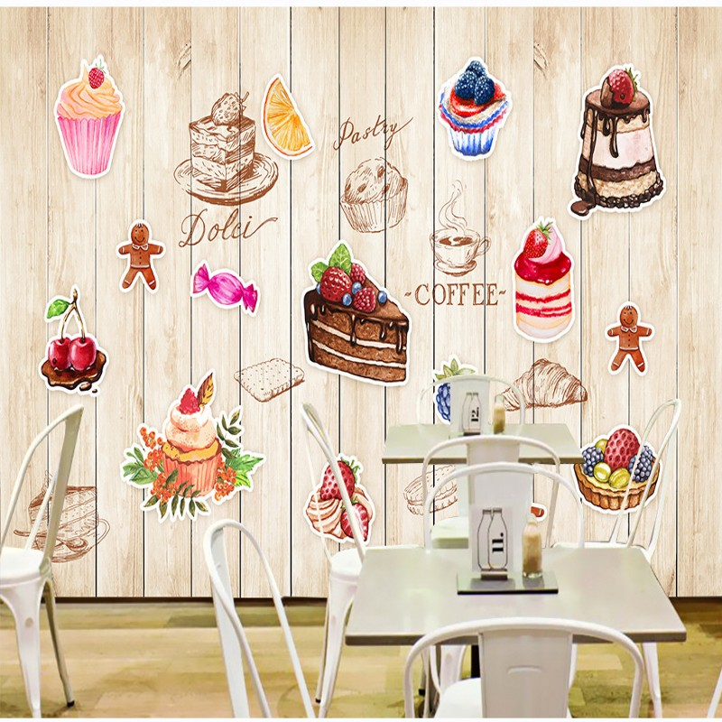 Custom photo wallpaper Personality Hand Painted Cake board mural Restaurant Kitchen Dessert shop Wallpaper House Decorative free shipping 3d dessert cake gourmet theme restaurant wallpaper cake shop dessert coffee dessert snack bar mural