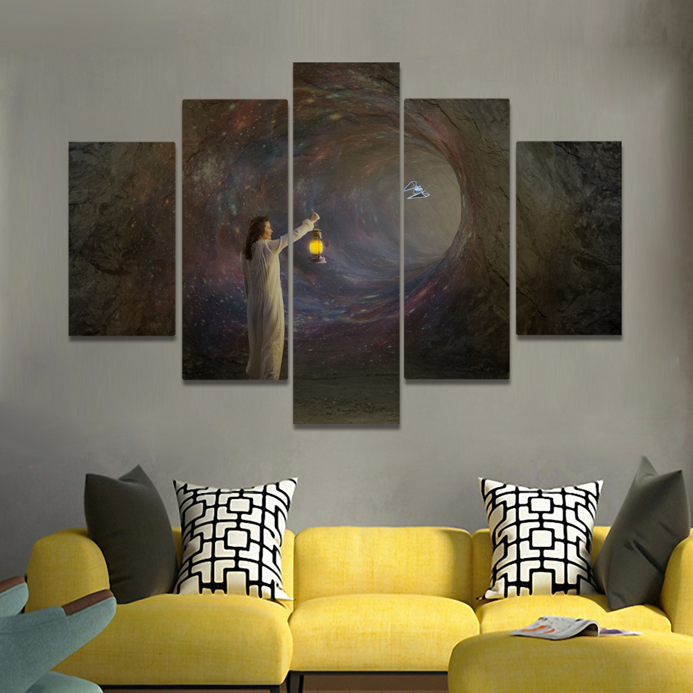 Unframed Canvas Painting Gothic Tunnel satellite Woman Holding A Lantern Prints Wall Picture For Living Room Wall Art Decoration