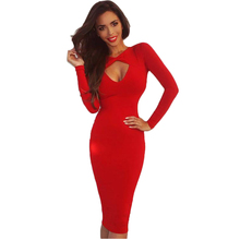 White Black Red Long Sleeve Autumn Dress 2016 Women Sexy Bodycon Club Midi Stretch Solid Party Dresses
