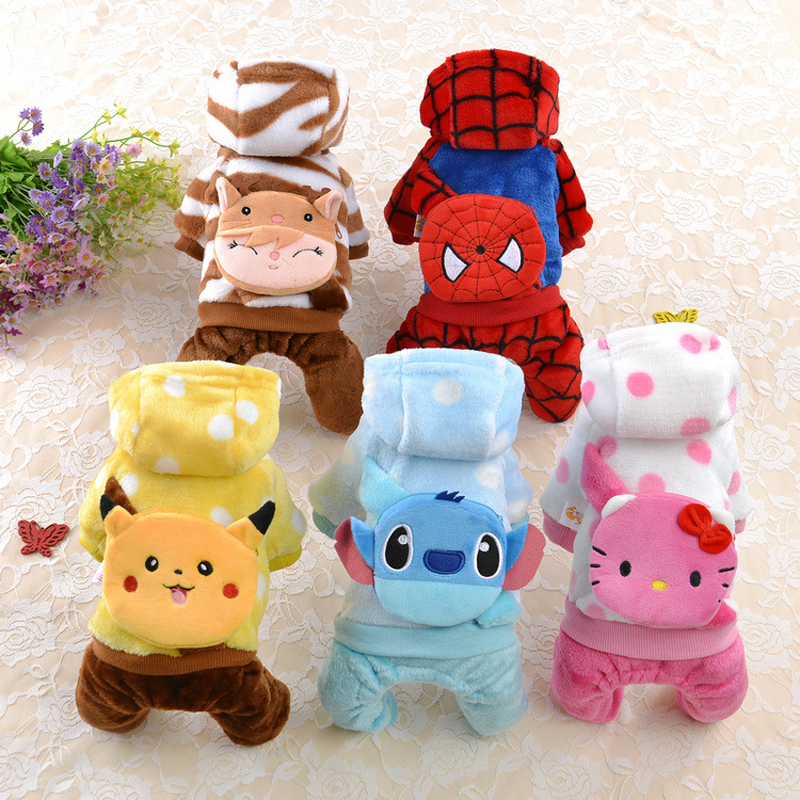 Winter Small Pet Cat Dog Clothes Jumpsuit Warm Fleece Pajamas Cartoon Puppy Costume Hoodie