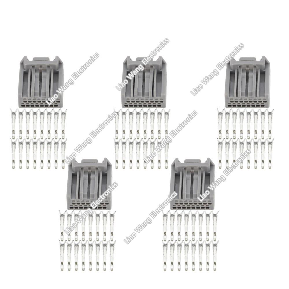 5 Sets 16 Pin sheathed car connector rectangular