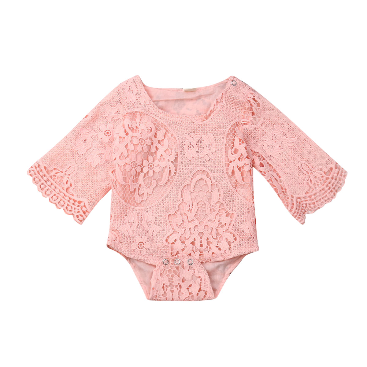 2019 Summer Cute Newborn Baby Girl Flare Sleeve Lace Floral Bodysuit Jumpsuit Princess Girls One Pieces Sunsuit Clothes