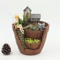 Fancy Resin Succulent Planter Flower Bonsai Pot Garden Herb Trough Box Basket Exquisite Flower Pots Plant