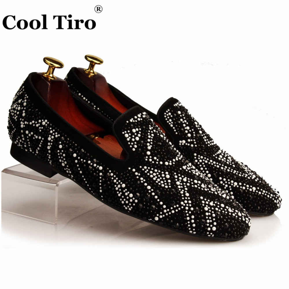 Cool Tiro Men s Loafers Flats Suede Slippers White Black Rhinestones Slip on Round Toe Wedding