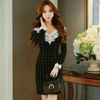 Original 2017 Brand Vestidos Autumn Winter Plus Size Lace Vintage Casual Slim Black Plaid Sheath Party Dresses Women Wholesale