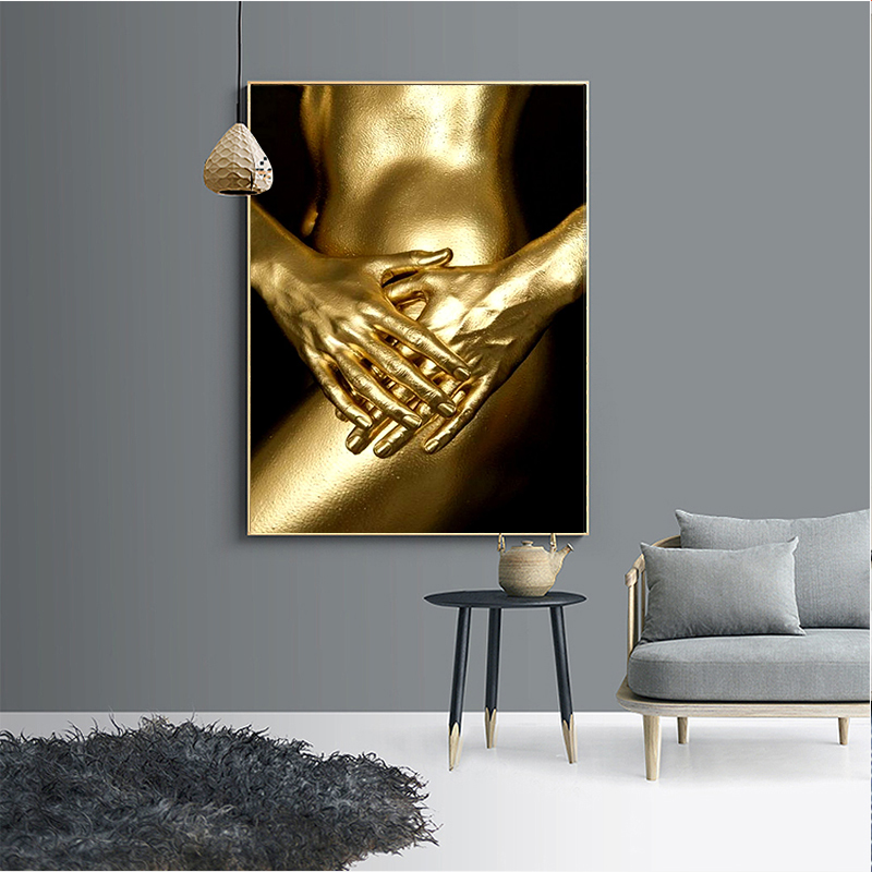 HD Print and spray painting Gold Plated Human body Modern ornamental frameless paintings Posters Wall Art 30 x 40cm