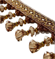 12Meters Lot 7 5CM Width Tassel Fringe Trim Pumpkin Crystal Beaded Ribbon For Sewing Curtain Accessories