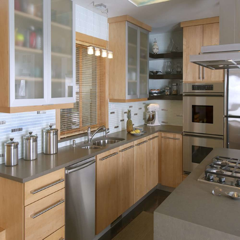 Melamine Kitchen Cabinets: Modern Fashionable Simple Style Double Color Melamine