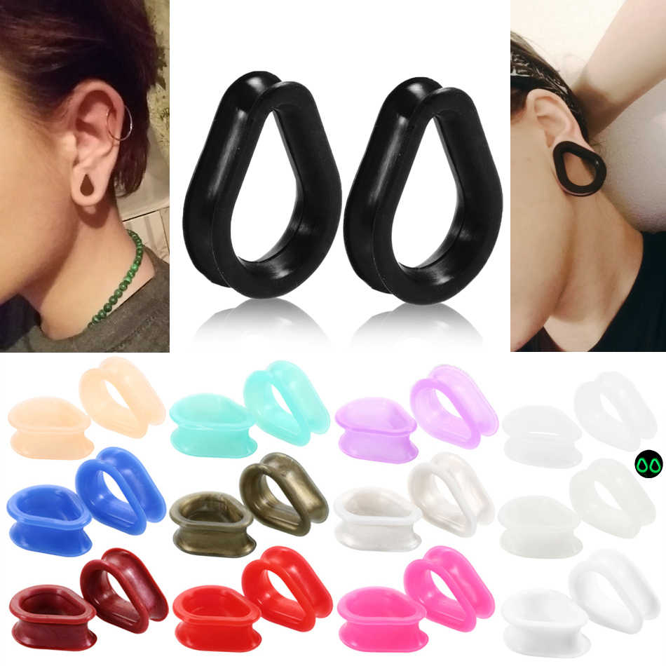 2pcs Silicone Teardrop Ear Plugs and Tunnels Expander Tunel Piercing Flexible Ear Gauges Earring Body Jewelry Piercing Stretcher