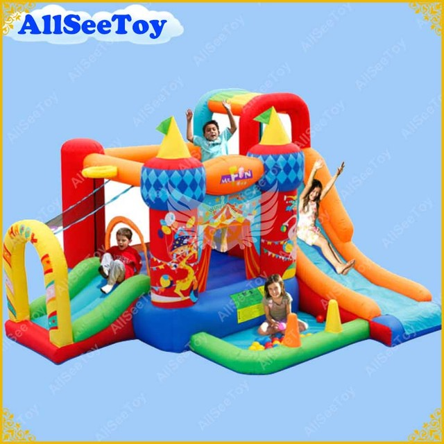 Inflatable Kids Bouncer Slide for Family Use,Bounce House with Ball Pool,Bouncy Castle with Air Blower