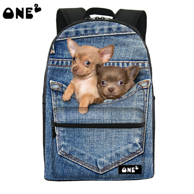 ФОТО ONE2 Design pocket cute dog animal blue school bag for high school student shoulder women campus backpack college teenager girls
