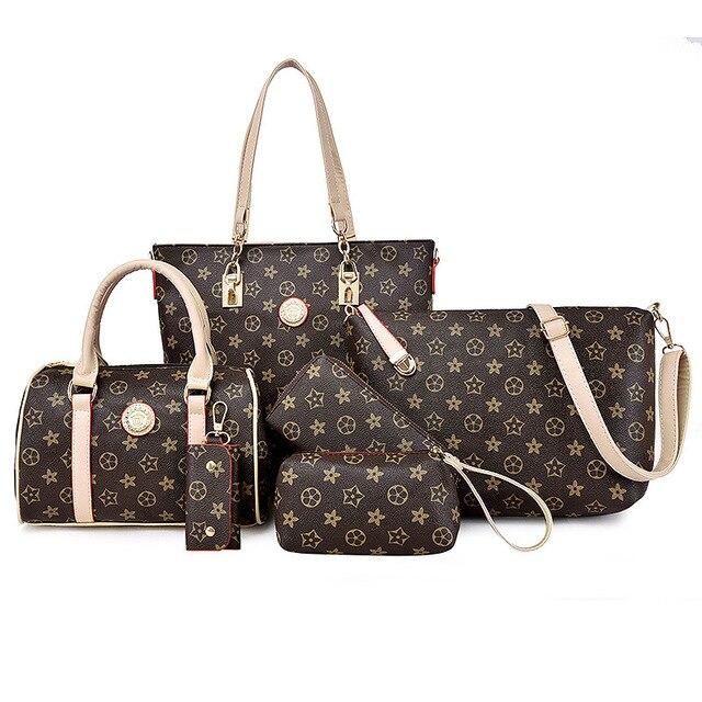 6pcs Set Luxury Women Designer Handbags High Quality Brand Woman Bags 2017 Bag Handbag Fashion