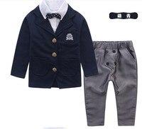 New Arrival Gentleman Bowtie Decorated Boys 2 piece Suit Set /Flower Boy Clothes 3009