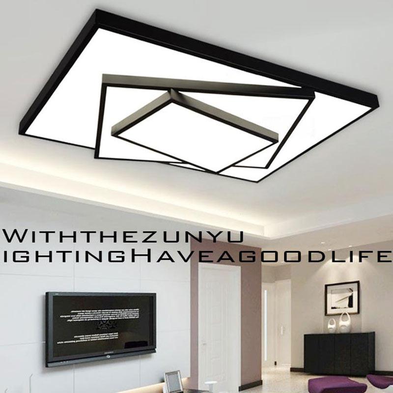 24 w/36 w Dimmable LED Lampe Moderne Salon Chambre Plafonniers Multicouche Noir/Blanc Fer Acrylique éclairage à la maison 110-220 v