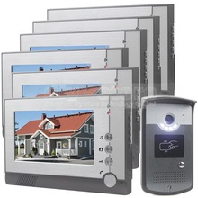 DIYSECUR 7inch Video Door Phone LED Night Vision RFID Unlocking Home Security Intercom System 1-Camera 6-Monitor