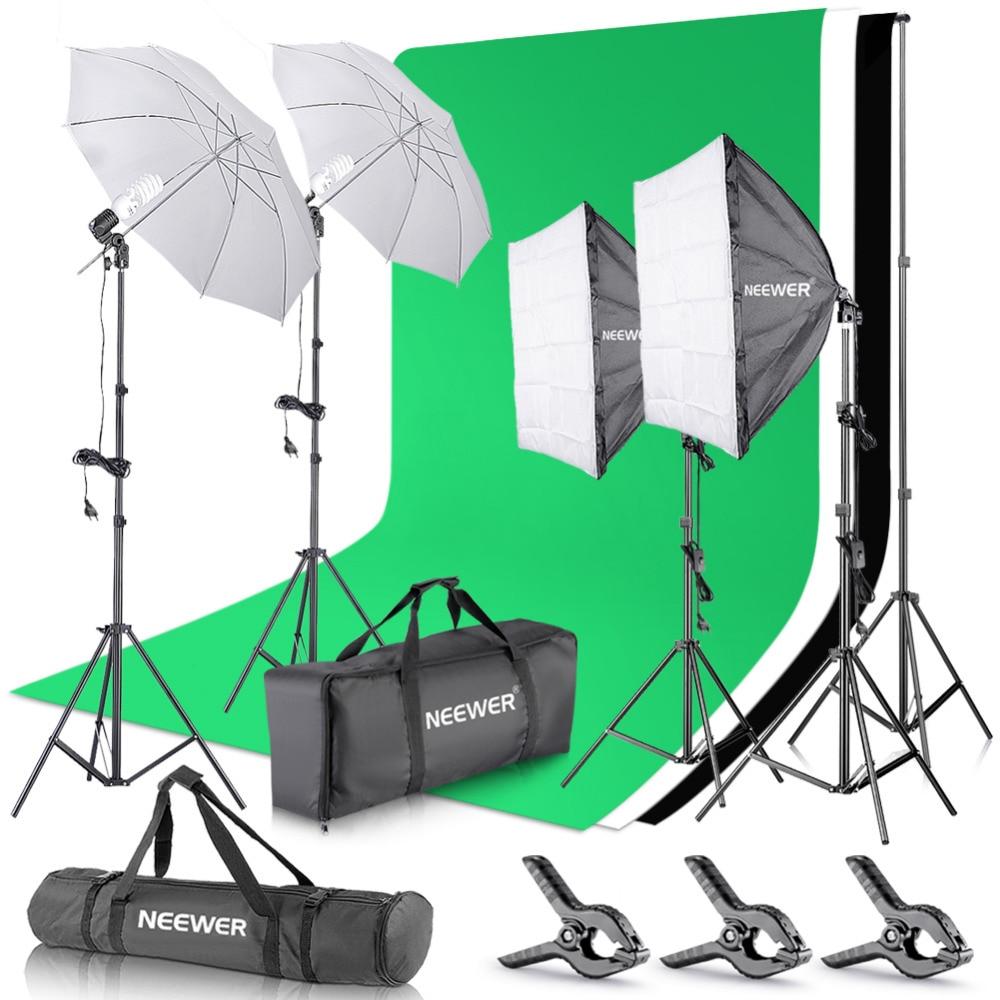 Neewer 2.6 M x 3 M/8.5ftx10ft Fond Support Système + 800 W 5500 K Parapluies Softbox Kit D'éclairage pour Photo Studio Produit/Portrait