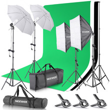 Neewer 2,6 Mt x 3 Mt/8.5ftx10ft Support System + 800 Watt 5500 Karat Regenschirme Softbox Beleuchtungs-set für Fotostudio Produkt/Porträt(China)